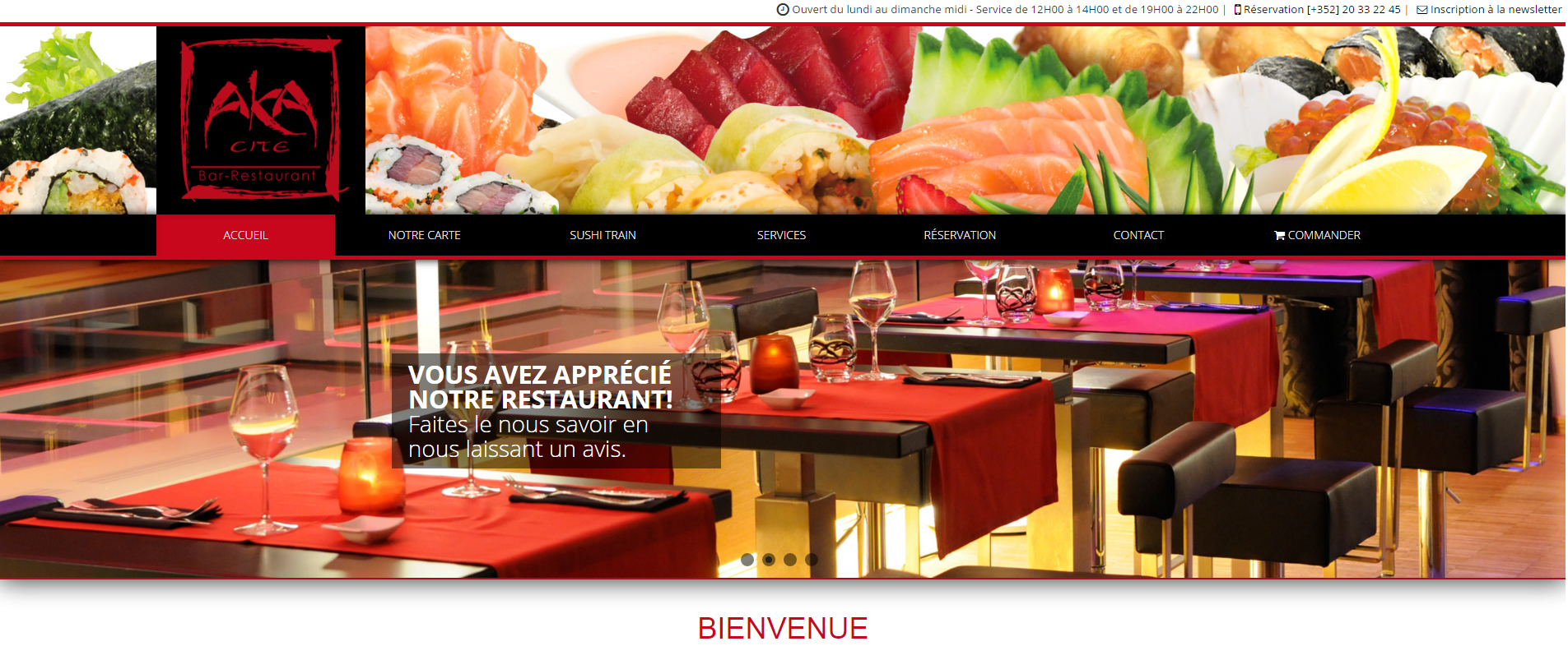 Aka cit bienvenue restaurant sushi for Aka japanese cuisine lounge